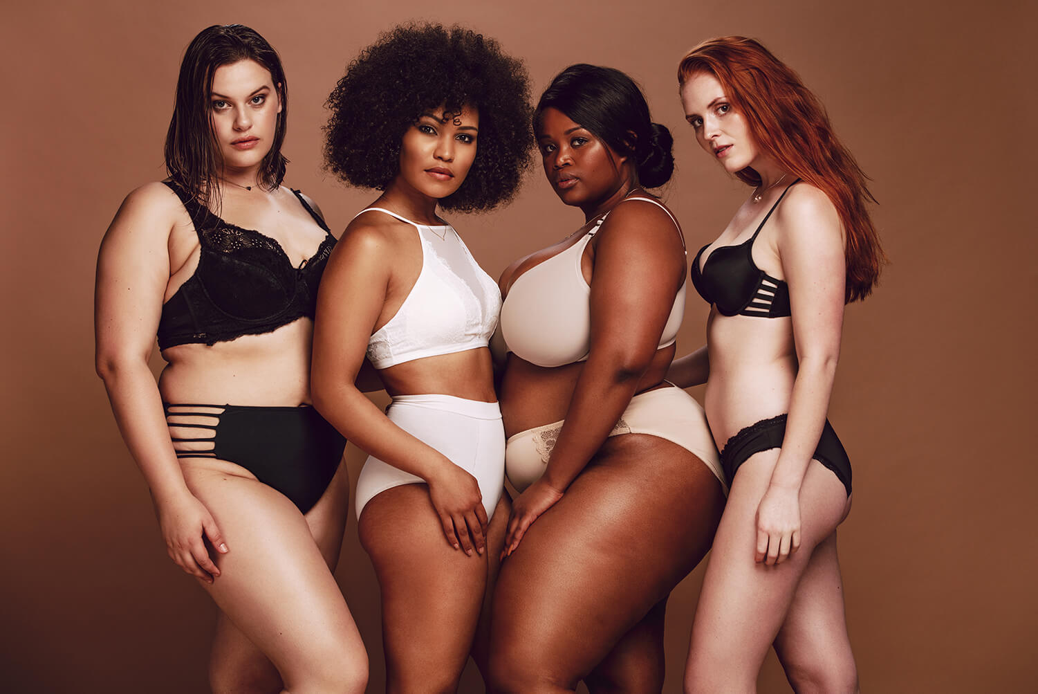 Body Confidence - 4 women on a fashion shoot - diverse in colour and size
